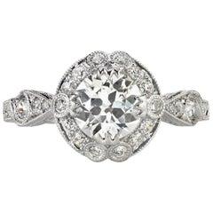 0.90 Carat Old European Cut Diamond Set in a Platinum Engagement Ring