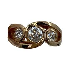 0.90 Carat Rose Gold 18 Karat Diamond Three-Stone Trilogy Swirl Scroll Ring