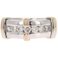 0.90 Carat Round Cut Diamond Men's Wedding Band 14 Karat White Gold