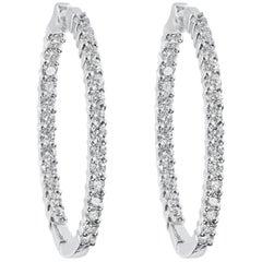 0.90 Carat Round Diamond Hoop Earrings