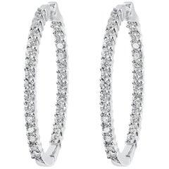 0.90 Carat Round Diamond White Gold Hoop Earrings