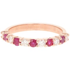 0.90 Carat Ruby Diamond 14 Karat Rose Gold Band