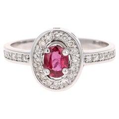 0.90 Carat Ruby Diamond 14 Karat White Gold Ring
