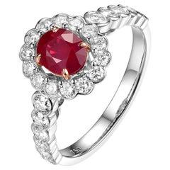 0.90 Carat Ruby Diamond Ring in 18 Karat White Gold