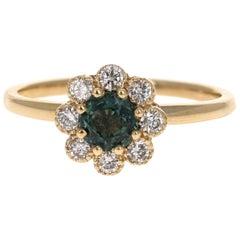 0.90 Carat Sapphire Diamond 14 Karat Yellow Gold Ring