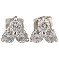 0.90 Carat Three Diamond Cluster Stud Earrings Set in 14 Karat White Gold