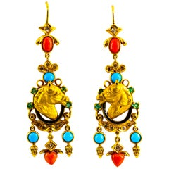 0.90 Carat White Diamond Emerald Coral Turquoise Yellow Gold Horse Drop Earrings