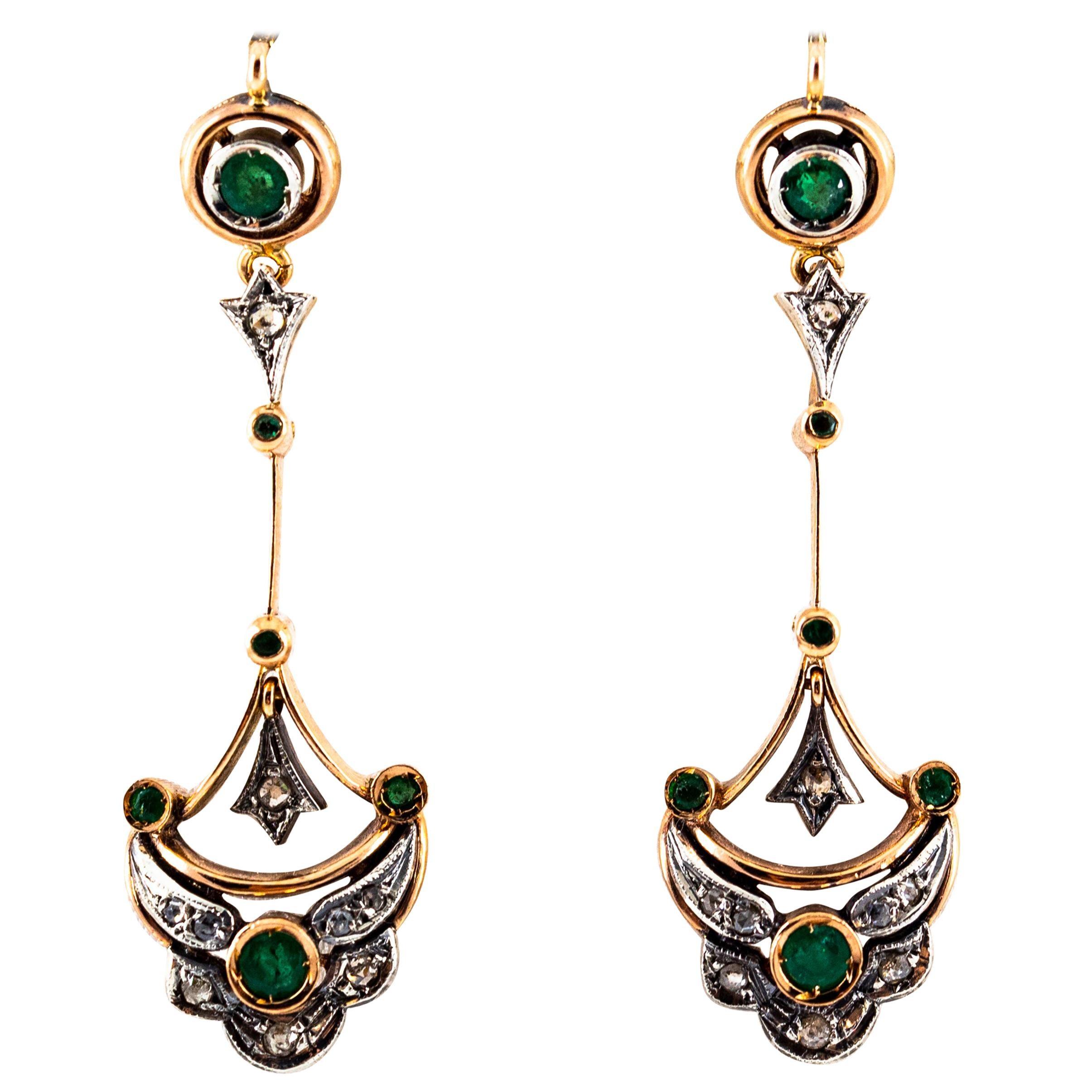 0.90 Carat White Rose Cut Diamond Emerald Yellow Gold Lever-Back Drop Earrings
