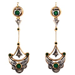 0.90 Carat White Rose Cut Diamond Emerald Yellow Gold Lever-Back Drop Earrings