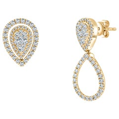 0.90ct round brilliant diamond fancy changeable pear drop yellow gold earrings