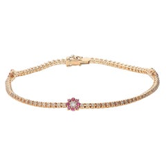 0.91 Brown Diamonds 0.26 Rubies 18 Karat Pink Gold Flower Tennis Bracelet