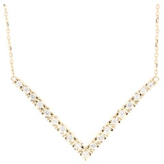 Diamond Chain Necklace 14 Karat Yellow Gold