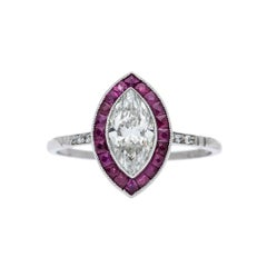 0.91 Carat Diamond Ruby Platinum Engagement Ring