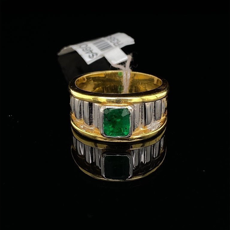 Retro 0.91 Carat Emerald Cut Emerald 18k Yellow & White Gold Ring For Sale