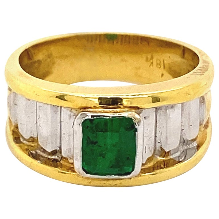 0.91 Carat Emerald Cut Emerald 18k Yellow & White Gold Ring For Sale