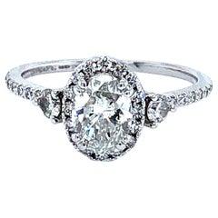 0.91 Carat G Si2 GIA Oval Diamond Engagement Ring 14 Karat Gold