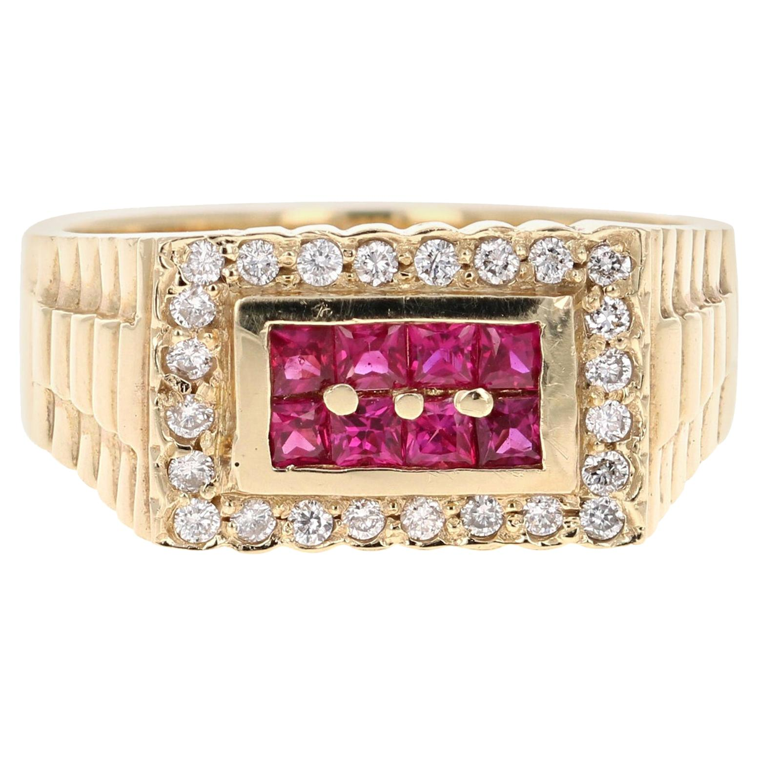 0.91 Carat Men's Ruby Diamond 14 Karat Yellow Gold Ring