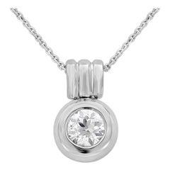 Roman Malakov, 0.91 Carat Round Diamond Bezel Pendant Necklace