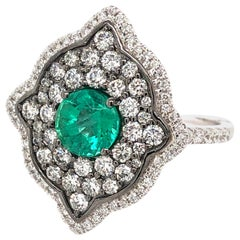 0.91 Carat Round Emerald and Diamond Cocktail Ring