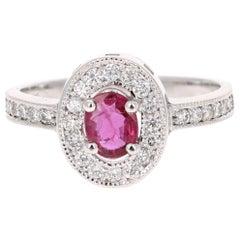 0.91 Carat Ruby Diamond 14 Karat White Gold Ring