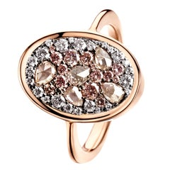 0.915 Carat Fancy Pink Rose-Cut Fancy Pink and White Diamond Pave Ring