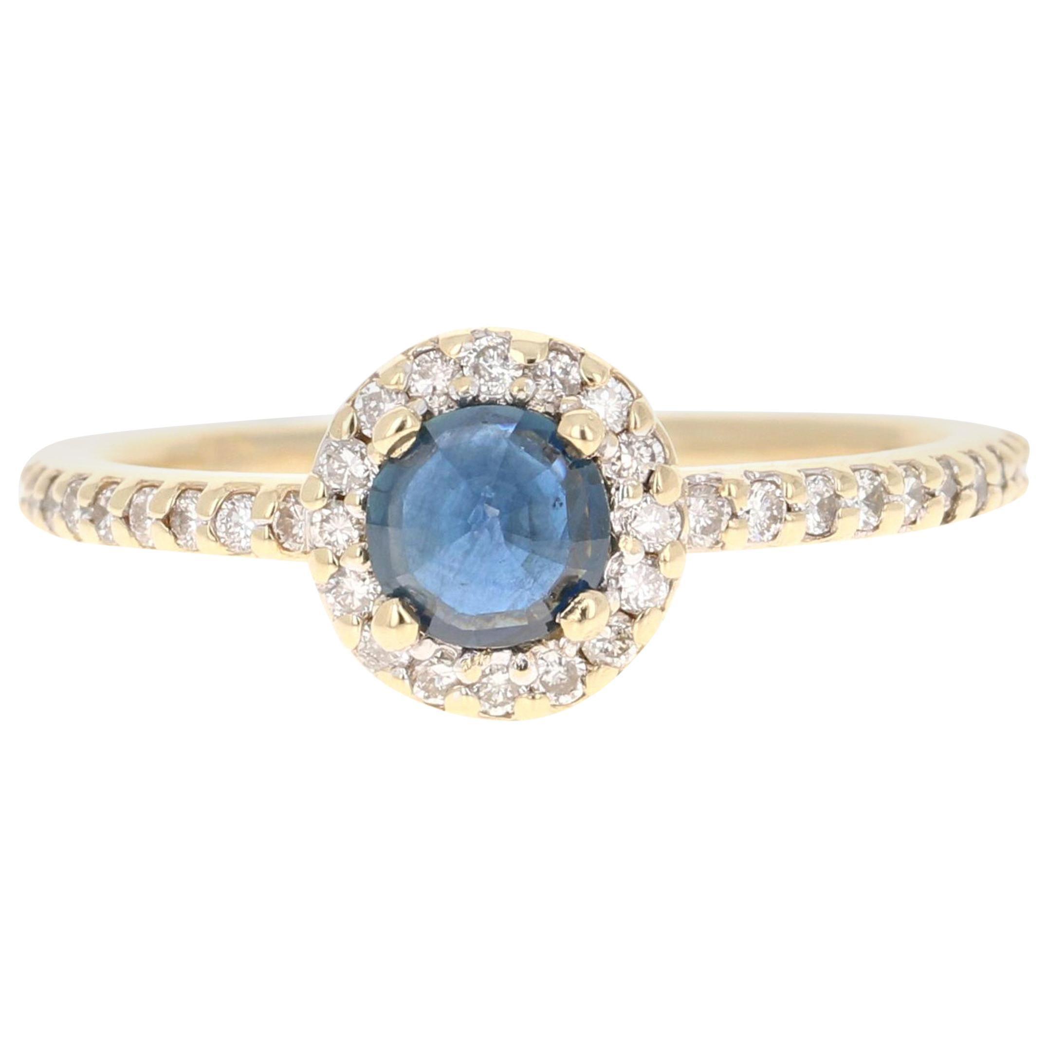 0.92 Carat Blue Sapphire Diamond 14 Karat Yellow Gold Ring