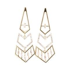 0.92 Carat Diamond 14 Karat Yellow Gold Earrings
