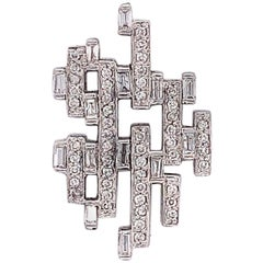 0.92 Carat Diamond Baguette Line Design Pendant