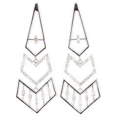 0.92 Carat Diamond Dangle 14 Karat White Gold Art Deco Inspired Earrings