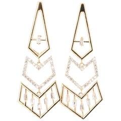 0.92 Carat Diamond Dangle 14 Karat Yellow Gold Art Deco Inspired Earrings