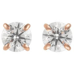 0.92 Carat Diamond Stud Earrings Rose Gold