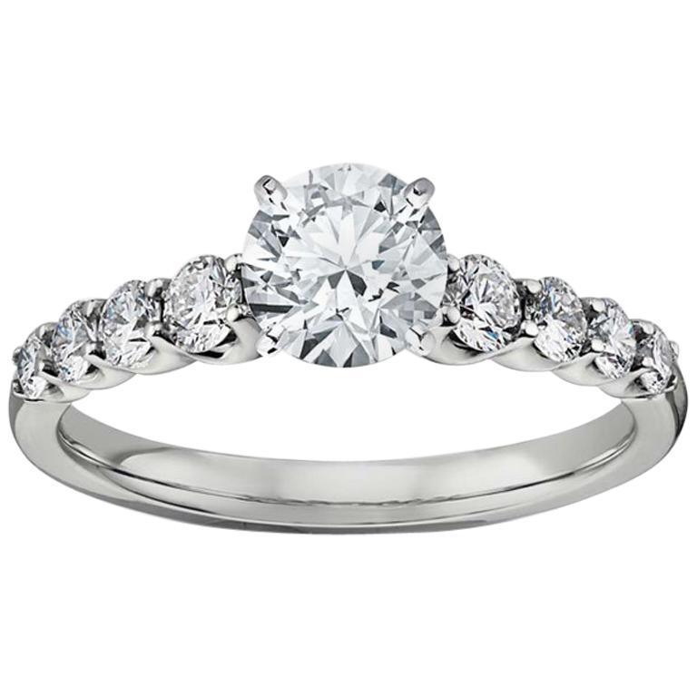 0.92 Carat H, VS1 Round Diamond Engagement Ring, GIA