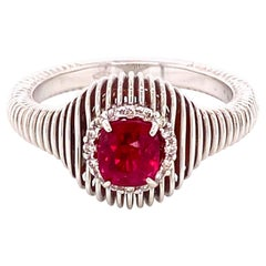0.92 Carat No Heat Vivid Red Burma Spinel and White Diamond Gold Engagement Ring