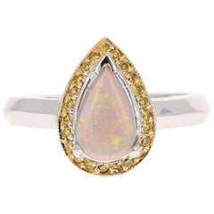 0.92 Carat Pear Cut Opal Yellow Diamond 14 Karat White Gold Ring