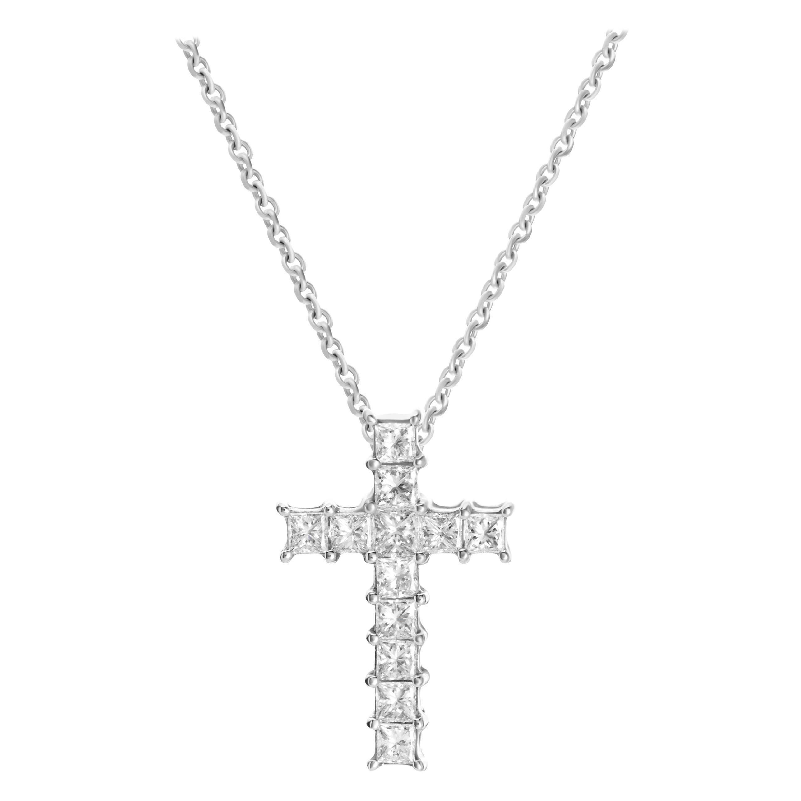 0.92 Carat Princess Cut Diamond 18 Karat White Gold Cross Pendant Necklace