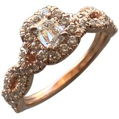 0.92 Carat TW Radiant H SI1 Diamond Halo Engagement Ring 14 Karat, Ben Dannie