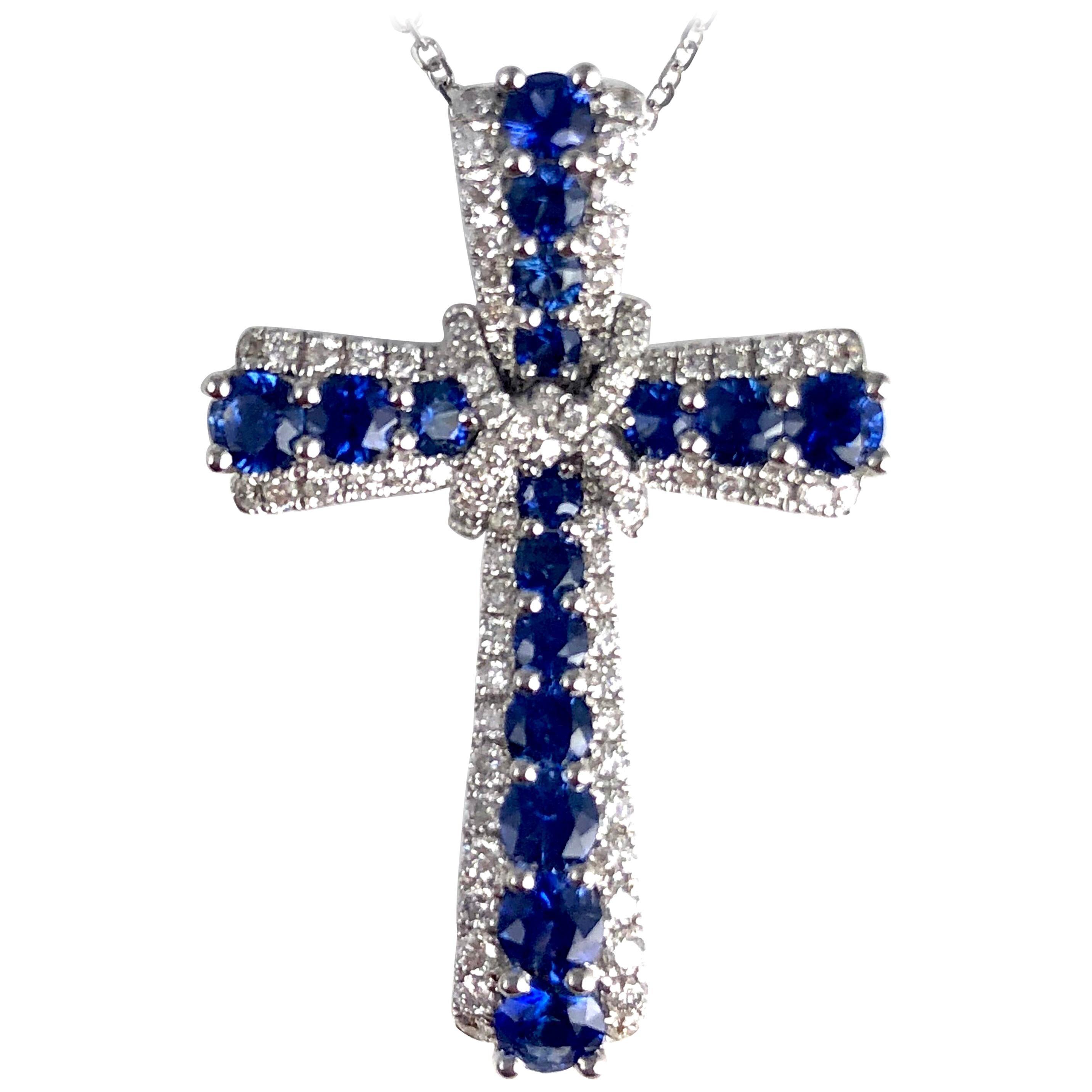DiamondTown 0.92 Carat Vivid Blue Sapphire and Diamond Embellished Cross Pendant