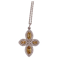 0.92 Carat Yellow and White Diamond Cross Pendant-Necklace