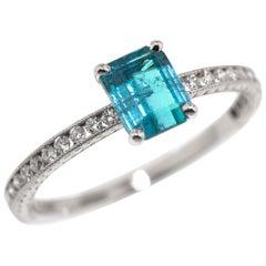 0.92ct Brazilian Paraiba Tourmaline and Platinum Ring by Cynthia Scott Jewelry