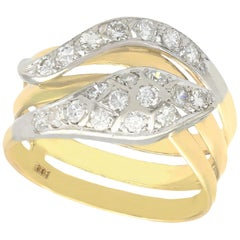 0.93 Carat Diamond and 14 Karat Yellow Gold Snake Ring, Vintage, circa 1960