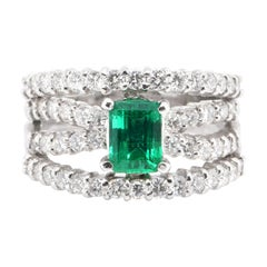 0.93 Carat, Natural, Colombian Emerald and Diamond Ring Set in Platinum
