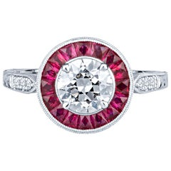 0.93 Carat Old European Cut Diamond with 0.68 Carat in a Ruby Halo Ring, GIA