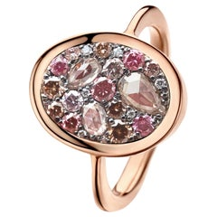0.93 Carat Pink, Fancy Chocolate Pink Diamond Pave Ring