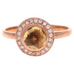 0.93 Carat Round Cut Citrine Diamond 14 Karat Rose Gold Ring