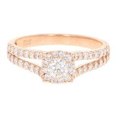 0.94 Carat Diamond 14 Karat Rose Gold Bridal Ring