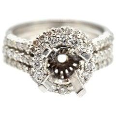 0.94 Carat Diamond 14 Karat White Gold Semi-Mount Engagement Three-Ring Set