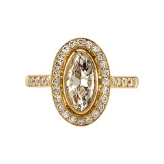 0.94 Carat GIA Certified Marquise Cut Diamond Set in a Handcrafted 18k Gold Ring