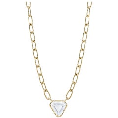 0.94 Carat GIA Certified Portrait Cut Diamond on an 18 Karat Gold Necklace