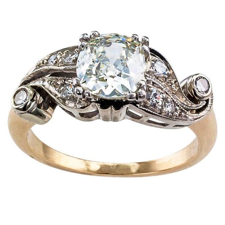 0.94 Carat Old Mine Cushion Cut Diamond Engagement Ring
