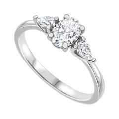 0.94 Carat Oval Diamond Ring in 14k White Gold GIA Certified, Shlomit Rogel